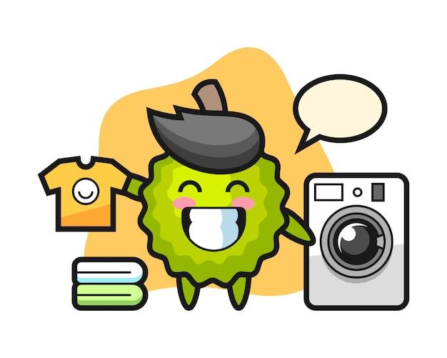 Durian cartoon mit waschmaschine