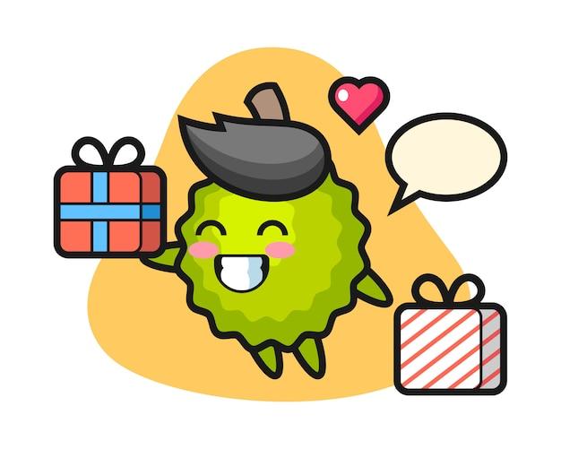 Durian-karikatur, die das geschenk gibt