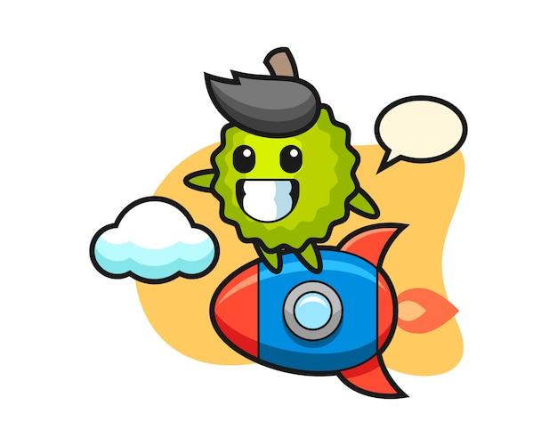Durian-karikatur, die eine rakete reitet