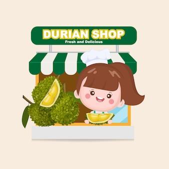 Durian obstladen und süße verkäuferin. lebensmittelgeschäft markt.