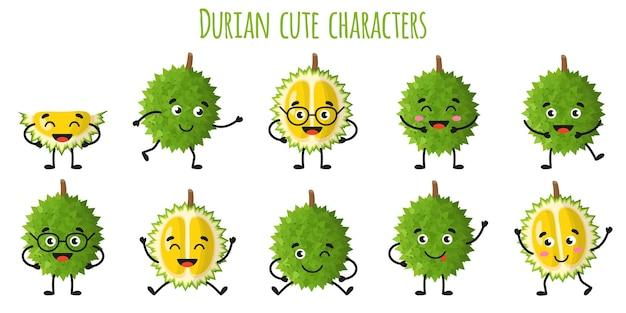 Durianfrucht süße lustige fröhliche charaktere mit verschiedenen posen und emotionen. natürliche vitamin-antioxidans-detox-lebensmittelsammlung. cartoon isolierte abbildung.