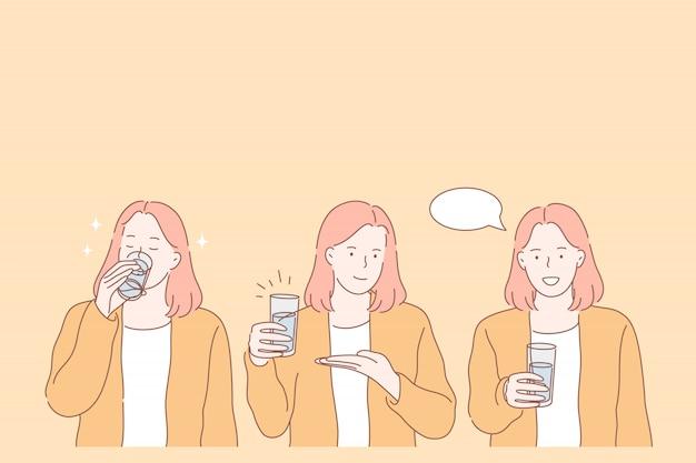 Durst, dehydration, trinkendes satzkonzept
