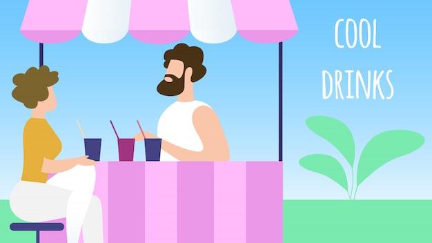 Durstiger mann, der kühle getränke im stadt-park-stand kauft. sommerzeit-ferien