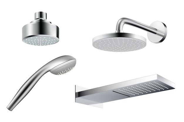 Dusche realistisch. metallische duschkopfschablone wasserspritzvektorbilder isoliert. illustration realistisches duschbad, schlauch für dusche