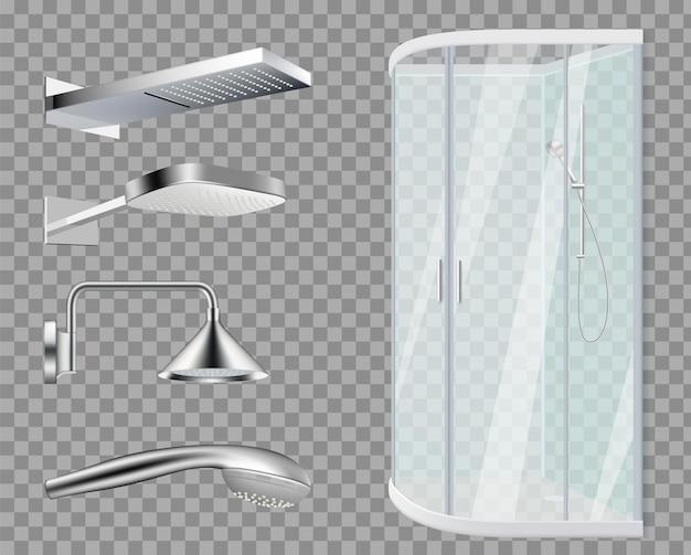 Duschkabine. duschköpfe, realistische badezimmerelemente lokalisiert auf transparentem hintergrund.
