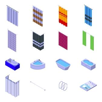 Duschvorhang symbole gesetzt. isometrischer satz von duschvorhangikonen für web lokalisiert auf weißem hintergrund
