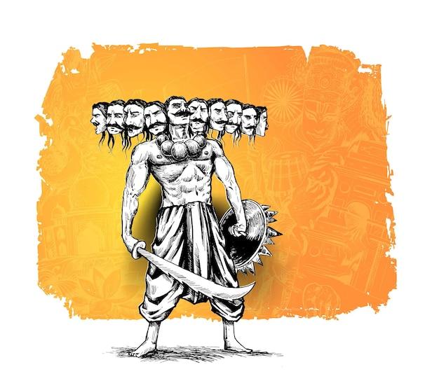 Dussehra-feier - ravana mit schwert, handgezeichnete skizze vektor-illustration.