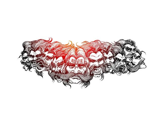 Dussehra-feier. ravana zehn köpfe, handgezeichnete skizze vektor-illustration.