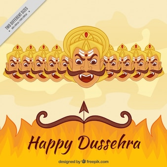 Dussehra hintergrund mit feuer und die zehn köpfe von ravana