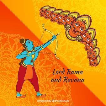 Dussehra hintergrund mit lord rama und ravana