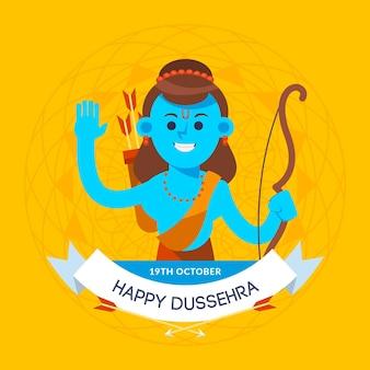 Dussehra-konzept im flachen design