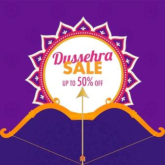 Dussehra sale poster design mit pfeil-bogen-illustration