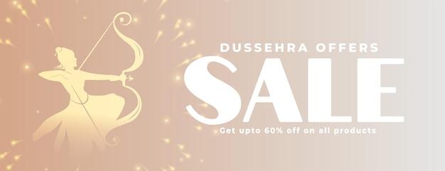 Dussehra verkaufs- und angebotsbanner für marketingzwecke