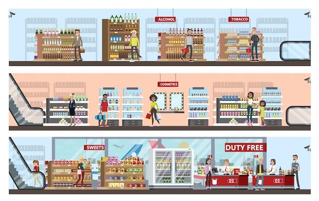 Duty-free-innenraum im flughafengebäude. leute, die billige produkte kaufen: alkohol, parfüm und schokolade. steuerfrei. illustration