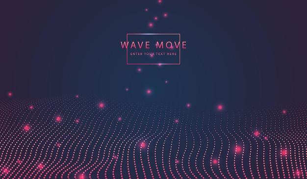 Dyanmic warp wave dot line 3d-gittergrund des abstrakten technologiehintergrunds.