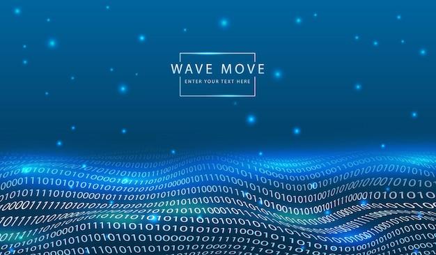 Dyanmic wave line 3d-gitter mit abstraktem technologiehintergrund