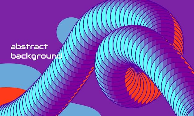 Dynamisch abstrakt geformte komposition mit blauer farbe