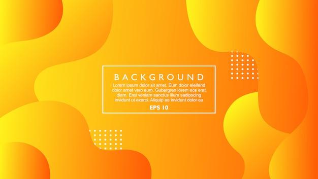 Dynamische abstrakte hintergrundschablone mit flüssiger form. orange farbe mit modernem stil