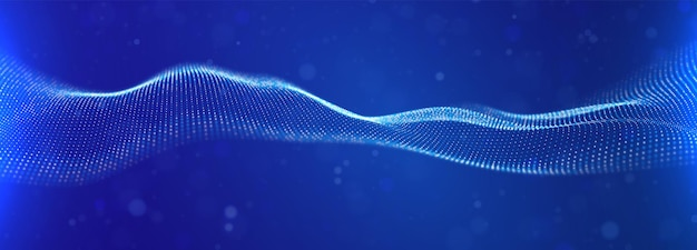 Dynamische blaue partikelwelle abstrakte klangvisualisierung flow digitale struktur