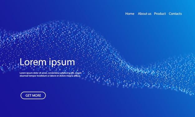 Dynamische blaue punktlandschaft abstrakter digitaler wellenhintergrund punktrastervisualisierung