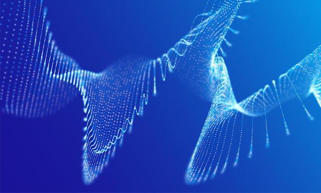 Dynamische blaue punktlandschaft punktrastervisualisierung technologievektorillustration