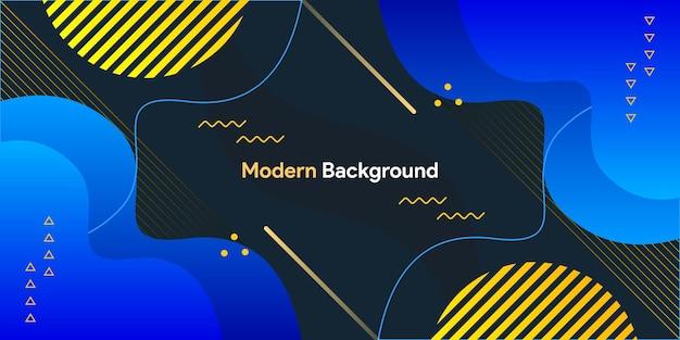 Dynamische fließende blaue gelbe geometrische mit buntem gradientenhintergrund