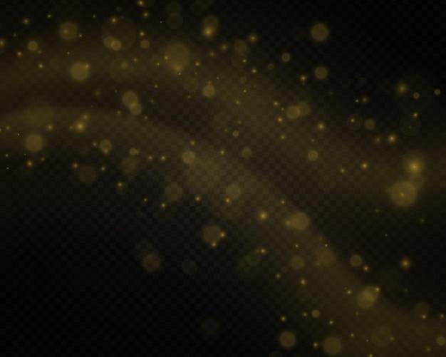 Dynamische goldene wellen gelbe linie mit lichteffekt-bokeh-effektstaub des gelben funkenvektors
