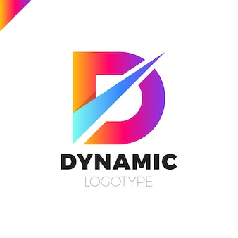 Dynamische logo-ikonendesignschablonenelemente des buchstaben d
