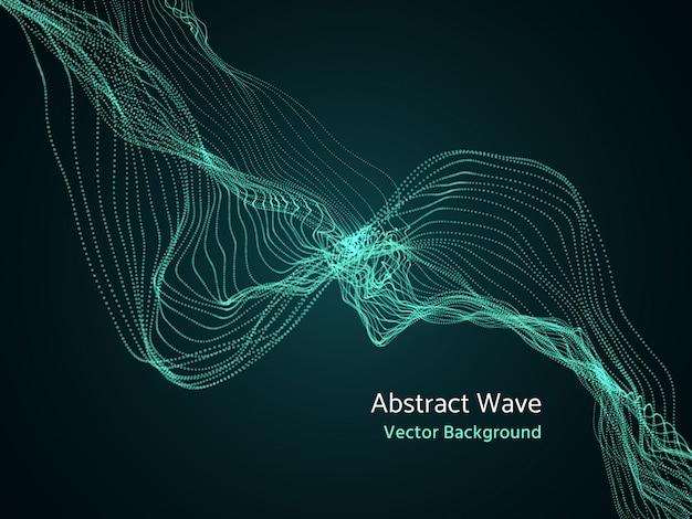 Dynamische partikelreihe, abstrakte welle der musik 3d. dynamik-vektor-konzept