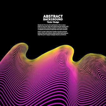 Dynamische wellen und linien auf dunklem hintergrund vektor-illustration