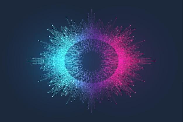 Dynamischer abstrakter hintergrund der spiralschallwellenrhythmuslinie. equalizer-schallimpuls. musik-rundwellen-design.
