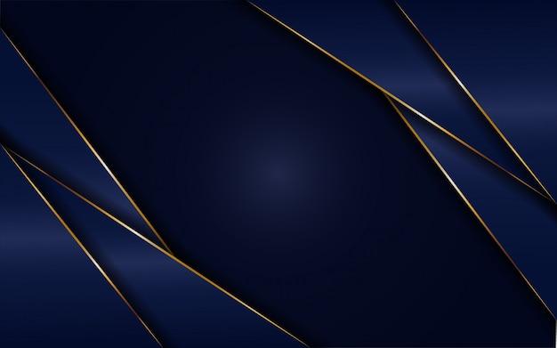 Dynamischer abtract dunkelblauer hintergrund mit goldener linie. hintergrund abstrakt modern