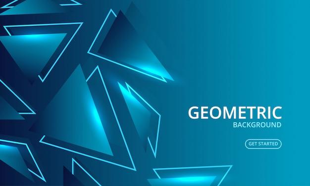 Dynamischer blauer geometrischer glühenzusammenfassungshintergrund