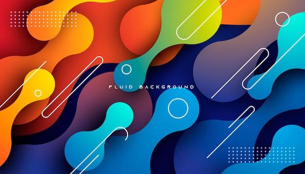 Dynamischer flüssiger hintergrund mit blauem und orangefarbenem farbverlauf