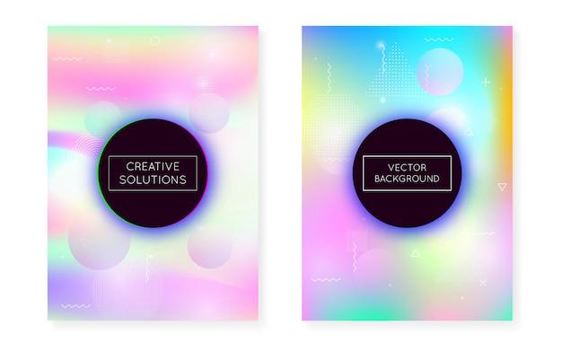 Dynamischer formhintergrund mit flüssiger flüssigkeit. holographischer bauhaus-farbverlauf mit memphis-cover. grafikvorlage für buch, jährliche, mobile schnittstelle, web-app. hipster dynamischer formhintergrund.