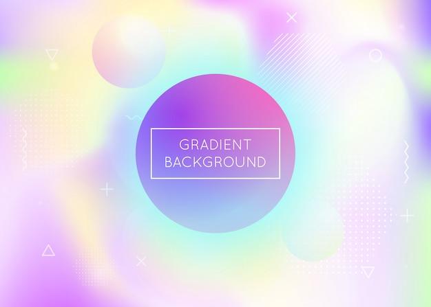 Dynamischer formhintergrund mit flüssiger flüssigkeit. holographischer gradient