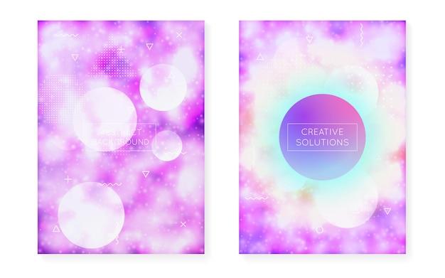 Dynamischer formhintergrund mit flüssiger flüssigkeit. neon-bauhaus-farbverlauf mit lila leuchtender abdeckung. grafikvorlage für flyer, benutzeroberfläche, magazin, poster, banner und app. retro dynamischer formhintergrund.