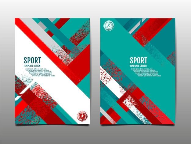 Dynamischer grunge sport cover set abstrakter hintergrundpinsel