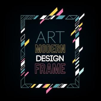 Dynamischer rahmen mit stilvollen bunten abstrakten geometrischen formen um ihn
