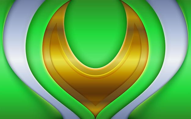 Dynamisches 3d lime green modernes cover mit goldener futuristischer komposition