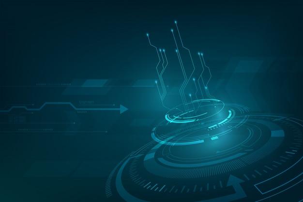 Dynamisches perspektivendesign des innovations-technologie-science-fiction-konzepthintergrundes