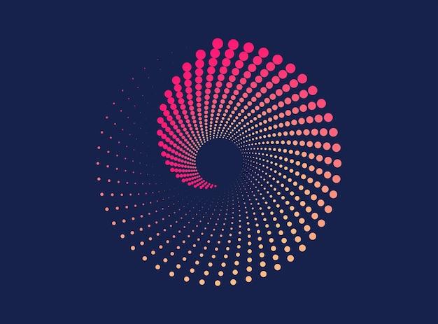 Dynamisches spiralförmiges halbtonmuster abstrakter gepunkteter bunter hintergrundelement für design