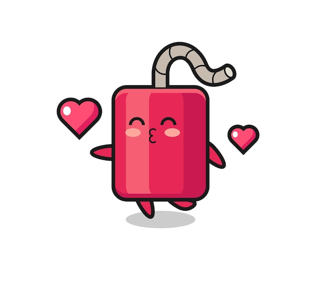 Dynamit-charakter-cartoon mit küssender geste, süßem design für t-shirt, aufkleber, logo-element