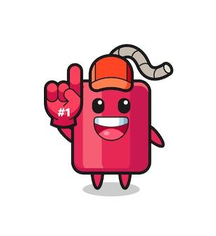 Dynamit illustration cartoon mit nummer 1 fans handschuh, süßes design für t-shirt, aufkleber, logo-element