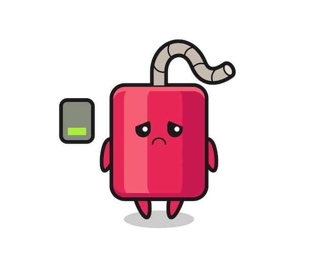 Dynamit-maskottchen-charakter, der eine müde geste macht, süßes stildesign für t-shirt, aufkleber, logo-element