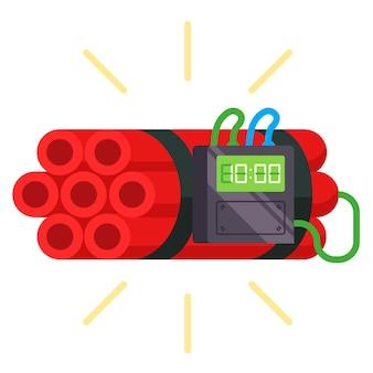 Dynamit-sticks mit einem daran befestigten timer. hausgemachte bombe. flache vektorillustration.