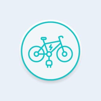 E-bike-liniensymbol, e-bike-runde-piktogramm