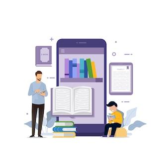 E-book auf mobilgeräten mit lesezeichen-designkonzept