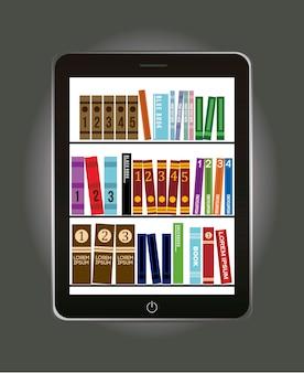 E-book-bibliothekskonzept über grauer hintergrundvektorillustration