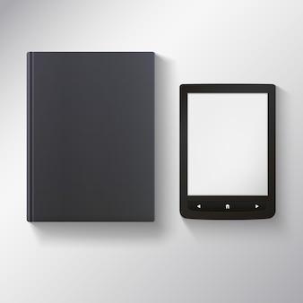 E-book mit leerem schwarzen buch.